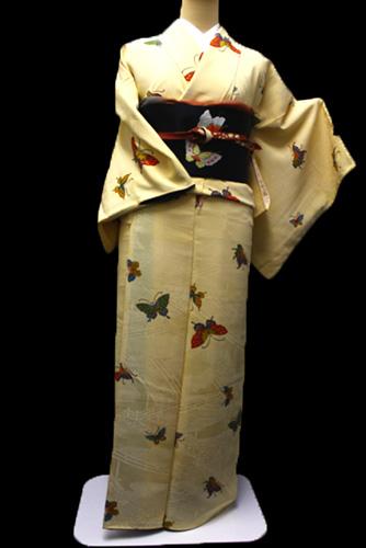 正絹小紋レンタルフルセット「蝶飛柄」
