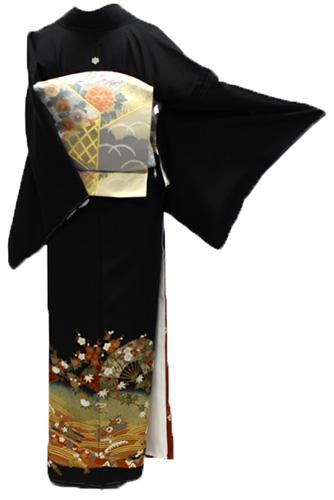 正絹黒留袖レンタルフルセット「扇面に椿・梅」