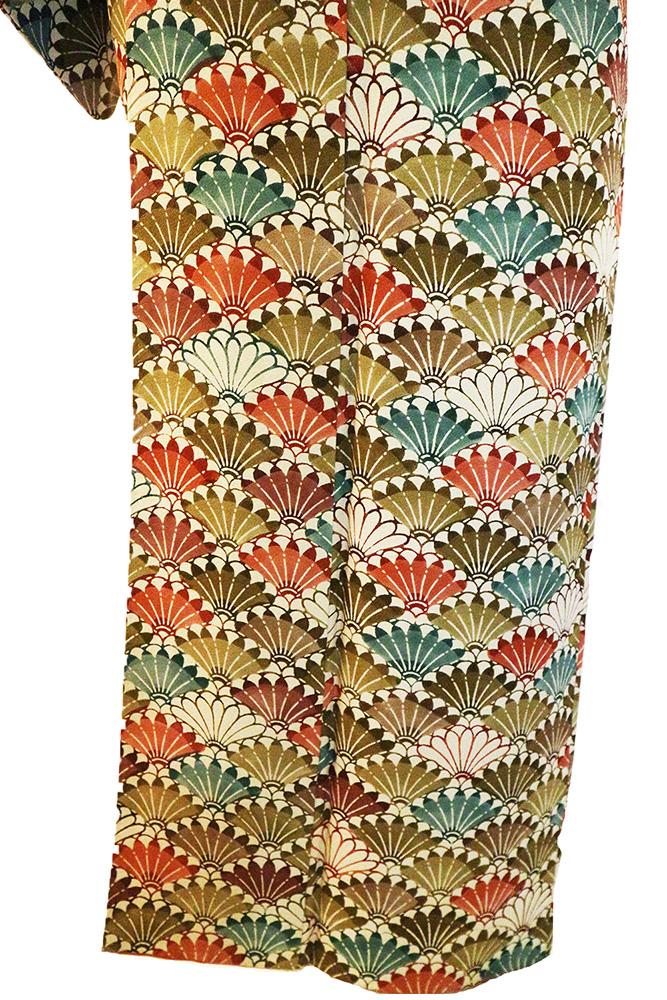 正絹小紋レンタルフルセット「青海波扇総柄」