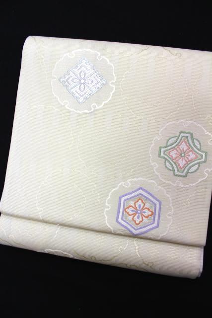 西陣織澤本織物謹製 夏物絽袋帯「雪輪に華紋」