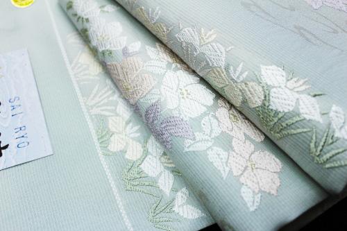 西陣織丸勇謹製 夏物袋帯「菖蒲桔梗」