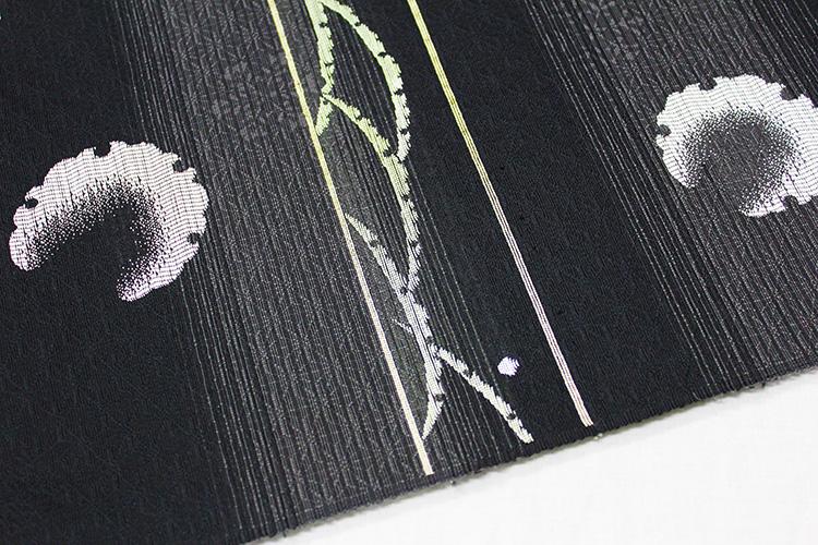 西陣織京都イシハラ謹製 夏物絽九寸名古屋帯「雪芝に雪輪」