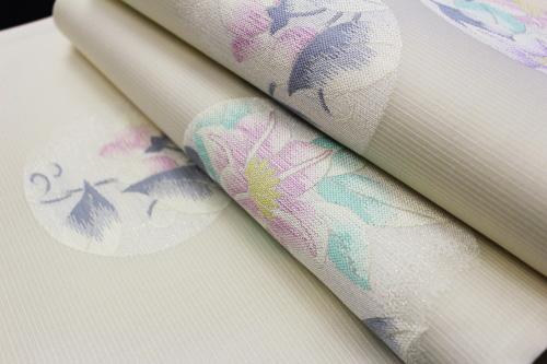 西陣織有栖川織物謹製 夏物袋帯「丸に花」