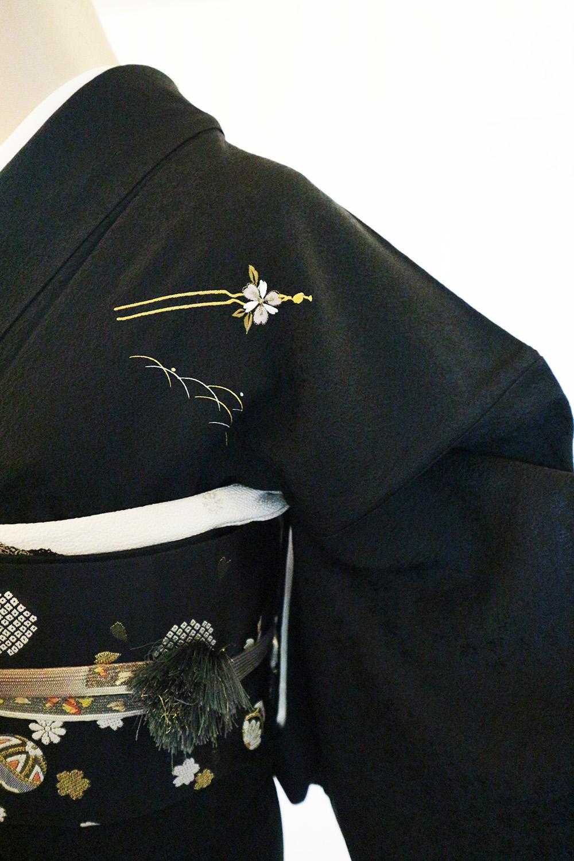 正絹訪問着 レンタルフルセット「刺繍 露芝に駒とかんざし」