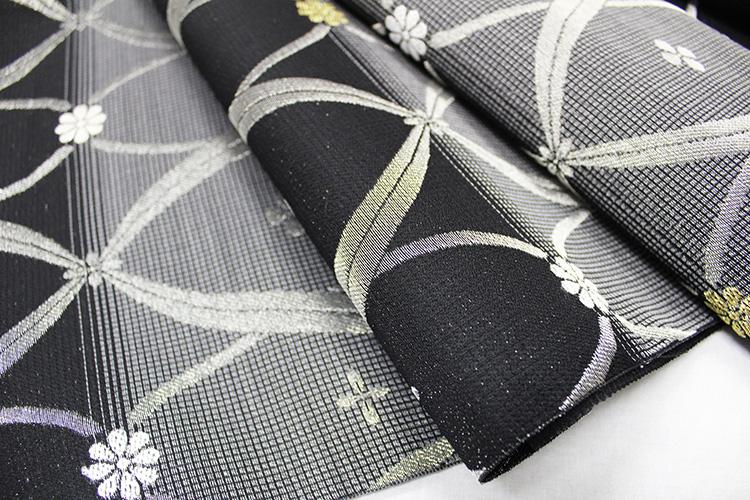西陣織佐々木染織謹製 夏物絽九寸名古屋帯「横段に立ワク小花」