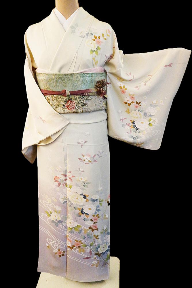 正絹訪問着 レンタルフルセット「加賀調 流水に四季の花」