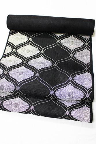 西陣織澤本織物謹製 夏物絽九寸名古屋帯「立ワクに菊」