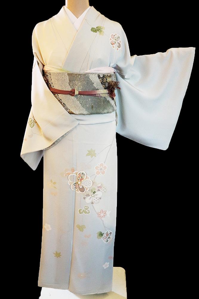 正絹訪問着 レンタルフルセット「染分けぼかしに四季の花」