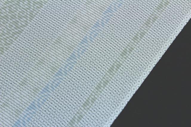 坪金謹製 正絹夏物駒絽小紋「ストライプに亀甲・青海波」