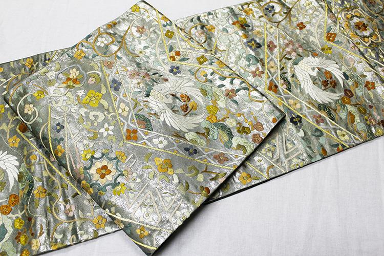 最高級袋帯「引箔に刺繍 鶴と鳳凰に唐花華紋」