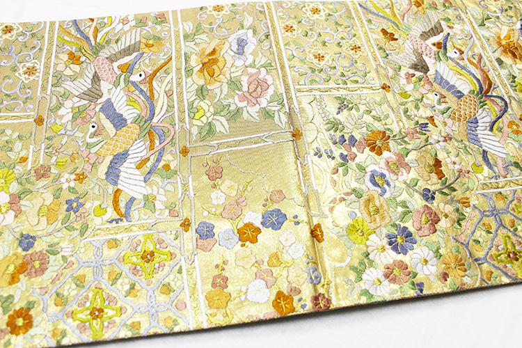 最高級袋帯「引箔に刺繍 鳳凰と四季花」