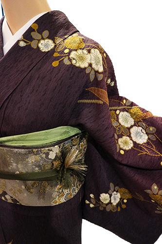 正絹訪問着 レンタルフルセット「雪輪に波と辻が花」