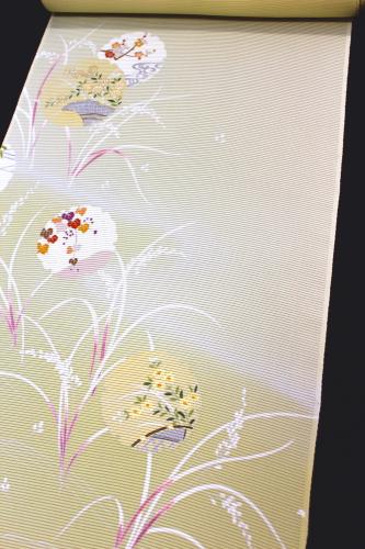 最高級五泉産駒絽夏付下「手描友禅 雪輪に小花」