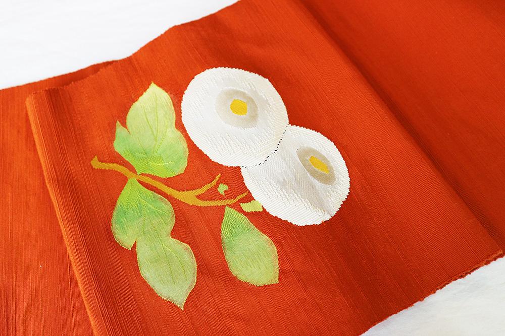 ※厳選仕立上がり商品 正絹八寸名古屋帯「綴れ 万寿菊」