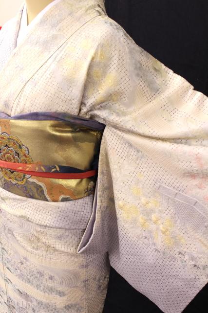 正絹訪問着レンタルフルセット「汕頭刺繍 松竹梅菊」
