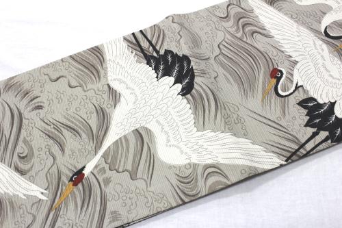 ポリエステル絽ちりめんリバーシブル京袋帯 仕立上がり「波に鶴」