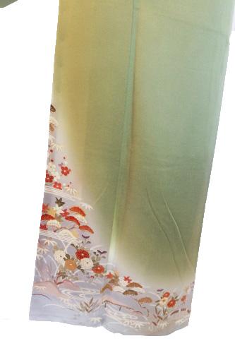 正絹訪問着レンタルフルセット「手描友禅 裾ぼかしに流水四季の花」