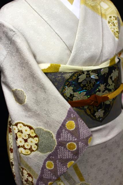 正絹訪問着レンタルフルセット「総柄 雪輪菊桜・疋田絞り」