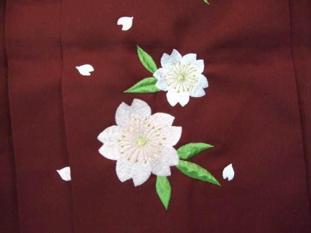 レンタル袴「エンジ無地/桜刺繍」 往復送料無料・半巾帯付