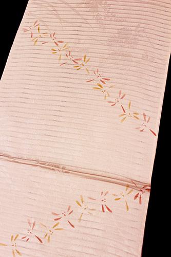 正絹の夏物絽帯揚げ「なでしこにトンボ」