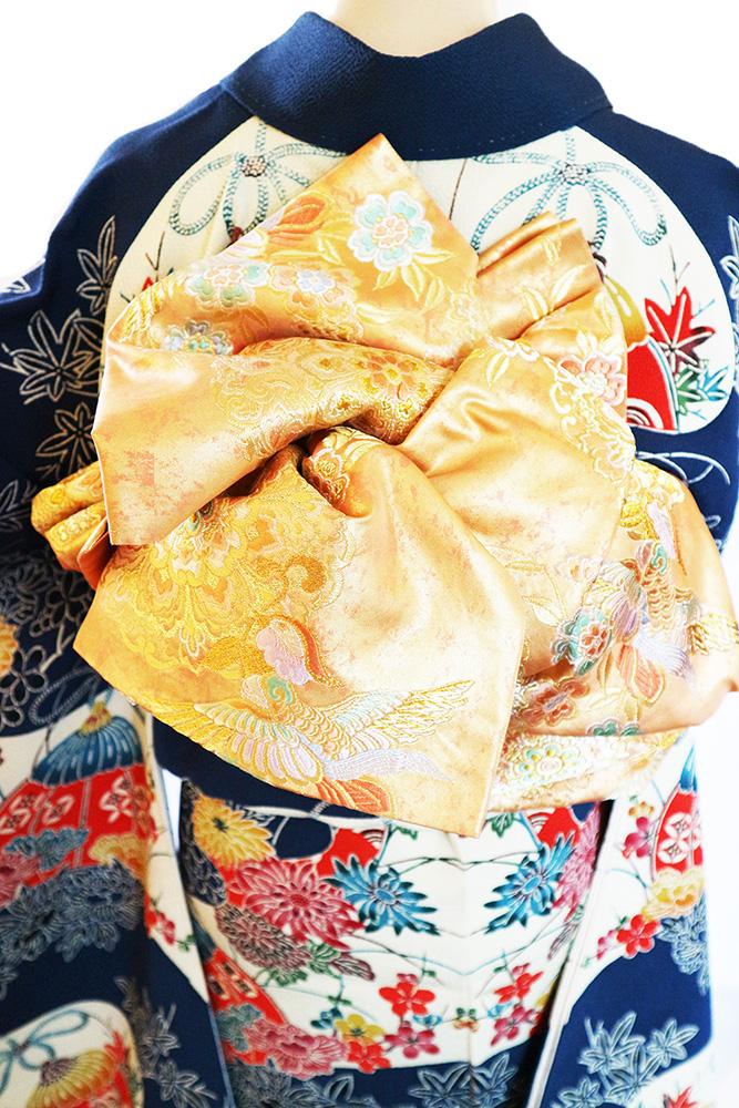 丹後ちりめん振袖レンタルフルセット「紅型 うちわに四季の花」往復送料無料