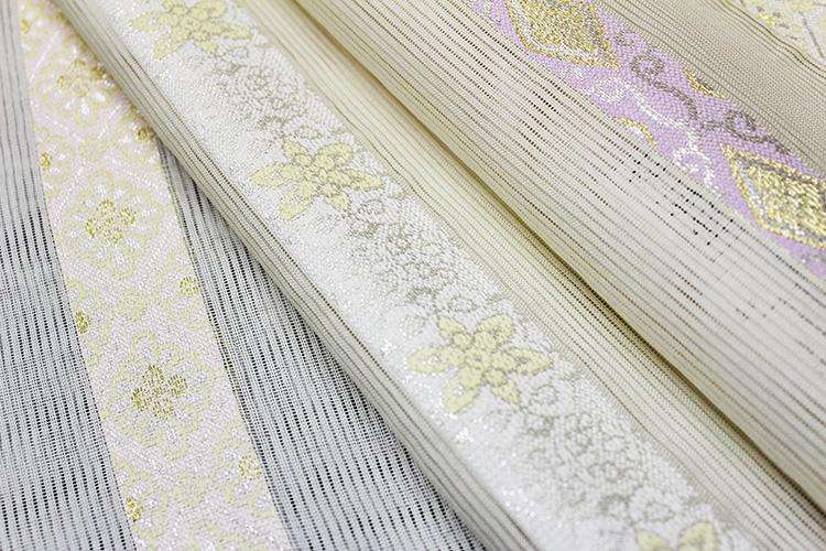 西陣織佐々木染織謹製 夏物絽九寸名古屋帯「横段に華紋」