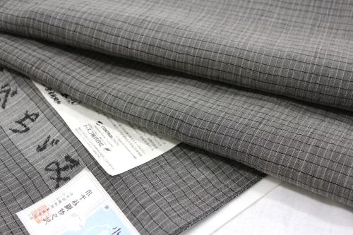 吉新織物謹製 紬 小千谷ちぢみ「格子」