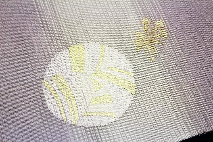 西陣織京都イシハラ謹製 夏物絽九寸名古屋帯「横段ボカシに唐花」