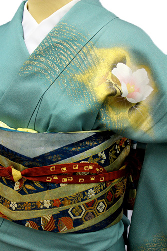 正絹訪問着レンタルフルセット「金通し 金彩 波に花」