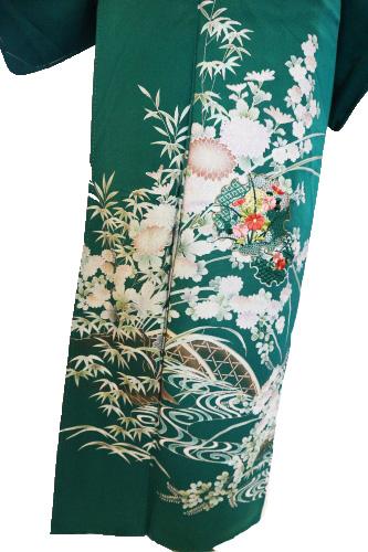 正絹訪問着レンタルフルセット「箔 流水に四季の花 雪輪に七宝花刺繍」