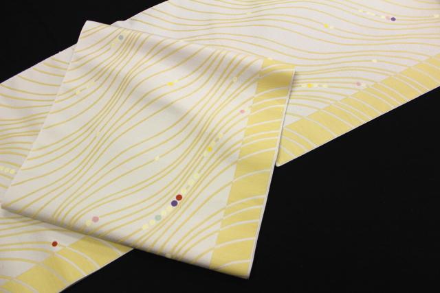 西陣織にんな織物謹製 九寸名古屋帯「モダン流線に水玉」