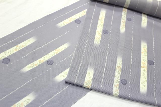 坪金謹製 正絹夏物駒絽小紋「縦ぼかしに花と雪輪」