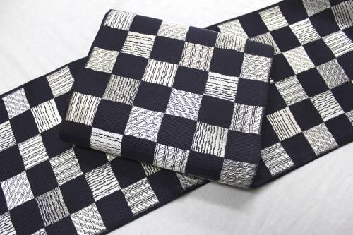 西陣織丸勇謹製夏袋帯「市松によろけ」