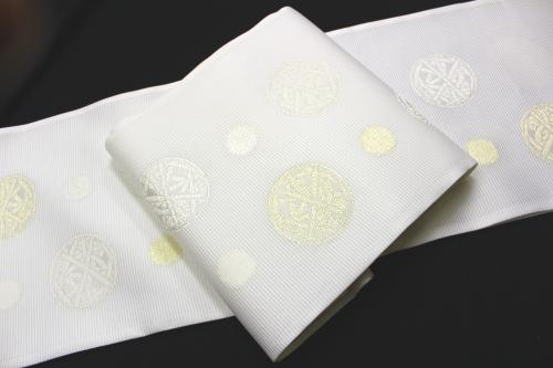 橋本テル織物謹製 夏物絽袋帯「丸華紋に水玉」