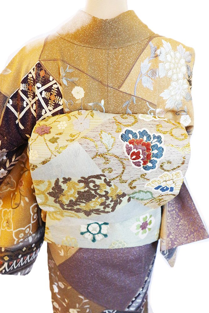 正絹訪問着 レンタルフルセット「総柄刺繍 割付に更紗華紋」