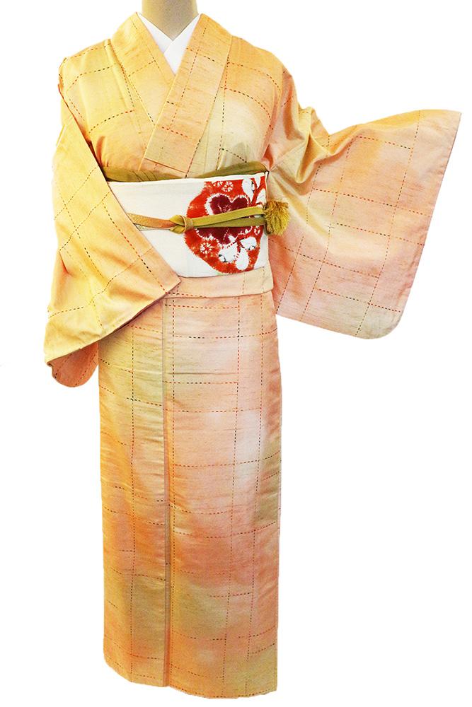 正絹紬レンタルフルセット「ぼかしに刺し子の幾何学格子」