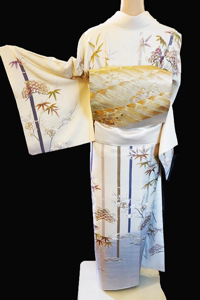 正絹訪問着 レンタルフルセット「総柄友禅刺繍 松竹梅」