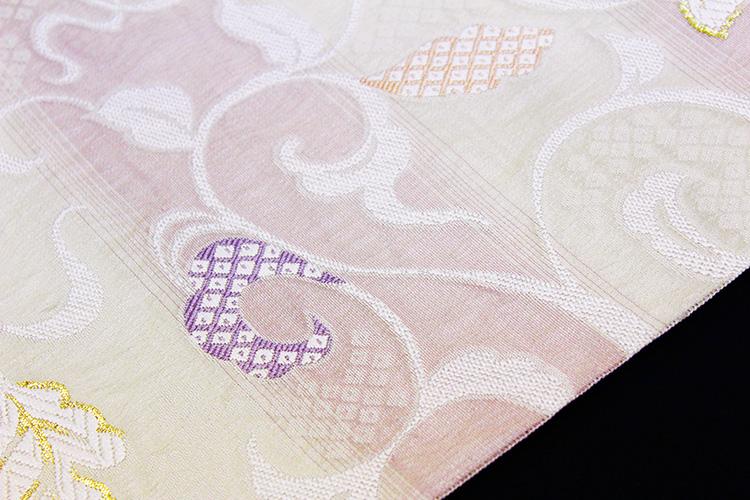 西陣織弥栄織物謹製 九寸名古屋帯「横段ぼかしに鹿の子と蔦」