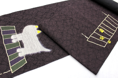 西陣織 織紫苑謹製 八寸名古屋帯「猫」