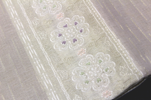 西陣織大光謹製 夏物袋帯「横段唐花華紋」