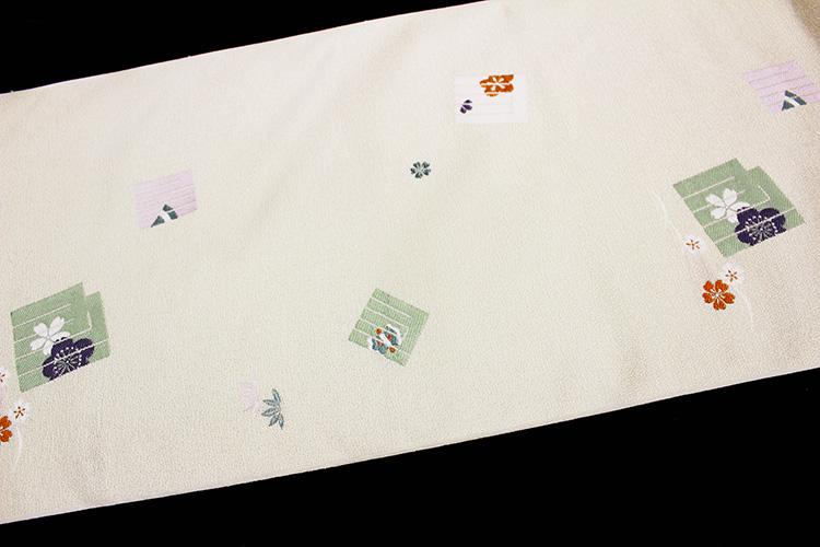 西陣織京都イシハラ謹製 九寸名古屋帯「源氏香に梅と桜」