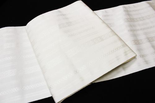 本場筑前博多織 森博多織謹製 八寸なごや博多帯「献上柄 白/五献」