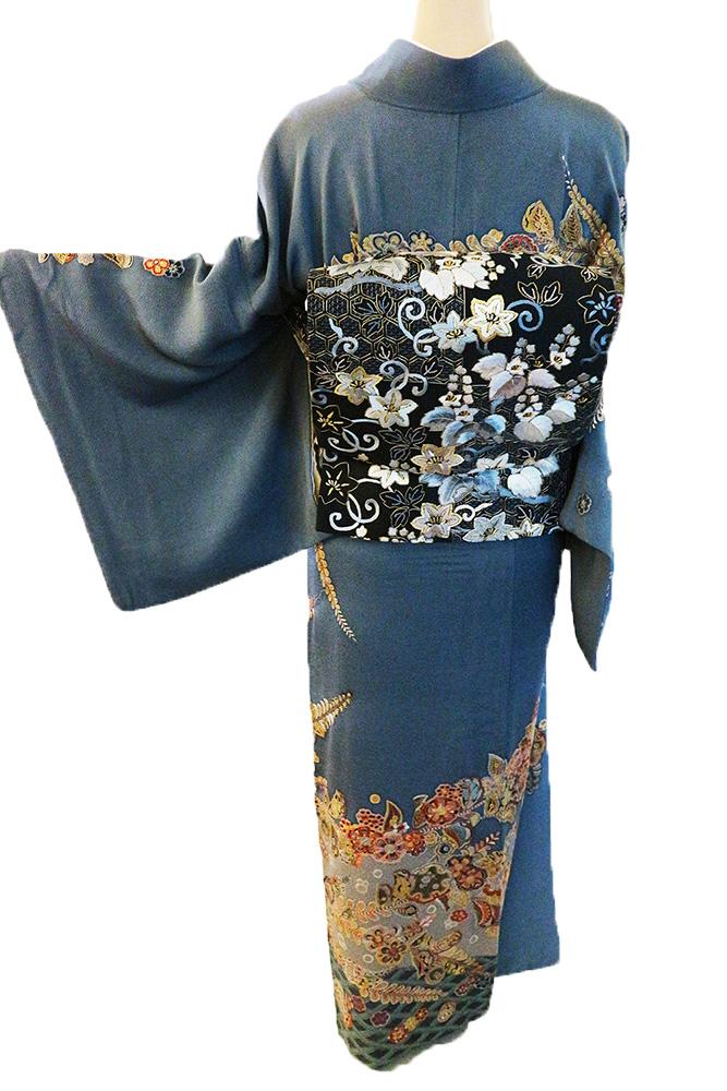 正絹訪問着 レンタルフルセット「刺繍 辻が花と雪輪に花」
