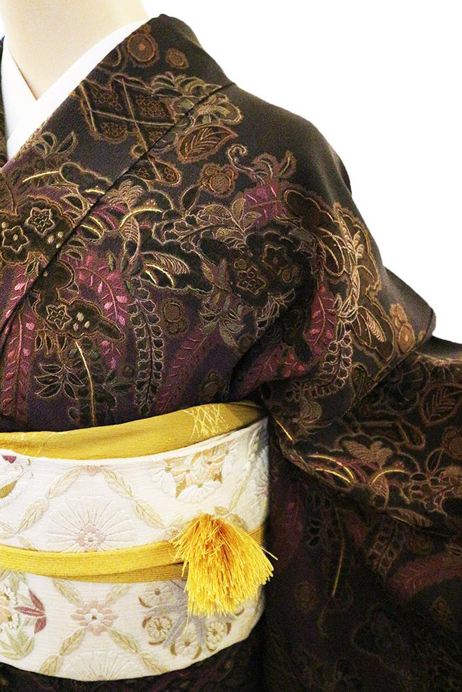 正絹訪問着 レンタルフルセット「総柄刺繍 波に鶴と辻が花に四季の花」