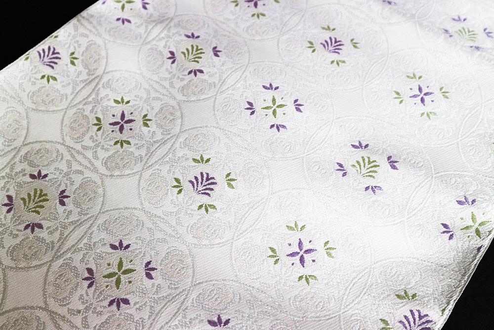西陣織木原織物謹製 九寸名古屋帯「丸華紋」