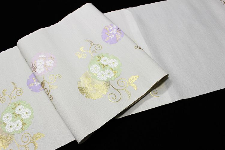 西陣織佐々木染織謹製 九寸名古屋帯「雪輪に四季の花」
