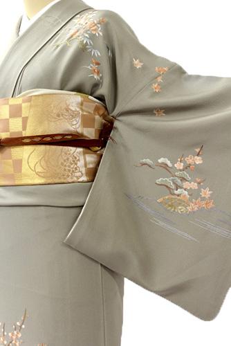 正絹訪問着レンタルフルセット「刺繍 松竹梅花車」