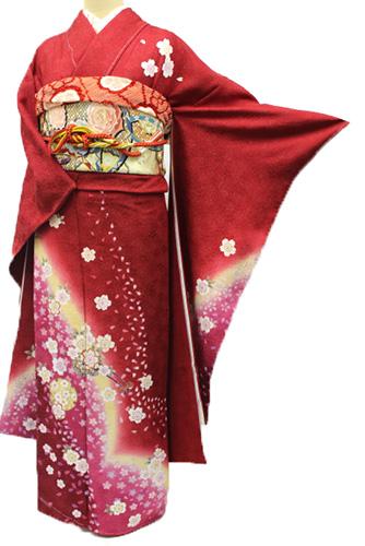 丹後ちりめん振袖レンタルフルセット「桜花車」往復送料無料