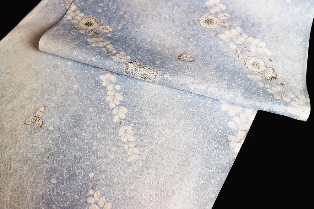 正絹の夏物紋紗着尺「京友禅 唐草葡萄の地紋に辻が花」