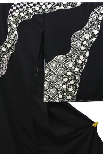 最高級正絹訪問着「刺繍   道長取り華紋に小花」